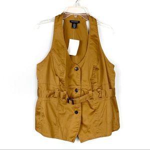 Ashley Stewart NEW Tan Vest Size 16